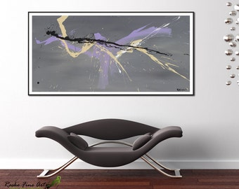 Large prints Abstract wall decor Modern Art Gift for wife Extra large wall art violet painting print by RASKO from 7x14 to 40x80