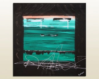 Canvas wall art acrylic painting, Abstract painting Home Decor, Painting on canvas, Original painting Green art, Modern painting by RASKO