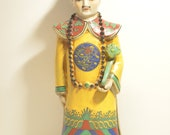 Antique Vintage Chinese Hand Painted Wucai Porcelain Qing Dynasty Kangxi Emperor Ruyi Statue
