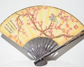Vintage Antique Chinese Asian Hand Painted Couple Birds Plum Blossom Scene Wall Hanging Fan Qing Dynasty Qianlong Stamp Mark