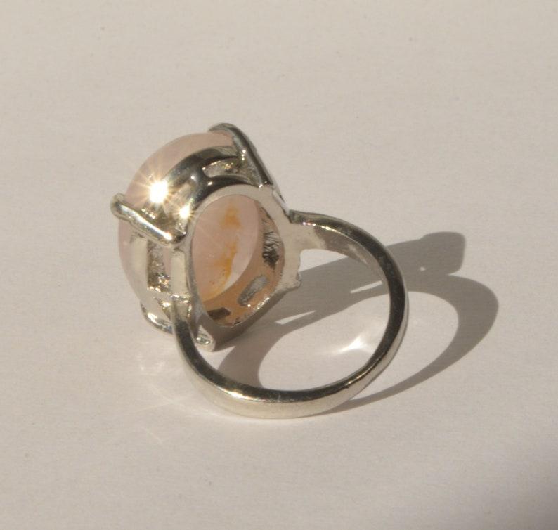 Vintage Chunky Silver Plate Natural Pink Rose Quartz Gemstone Ring Size 10