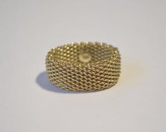 Vintage 18K Yellow Gold Mesh Ring Size 8