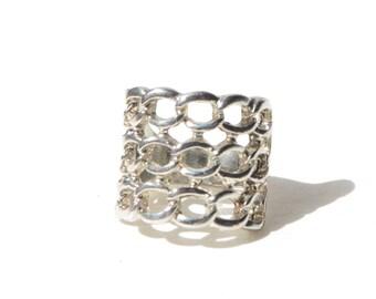 Vintage Sterling Silver Net Ring Size 7.5