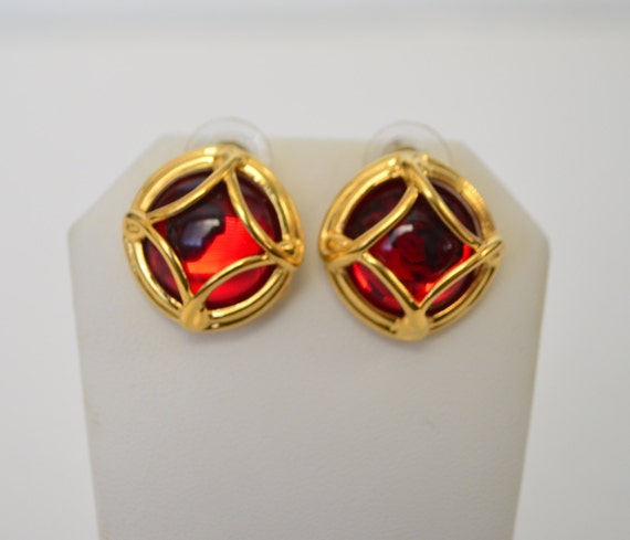 vintage Joan Rivers Gold Tone Ruby Red Rhinestone