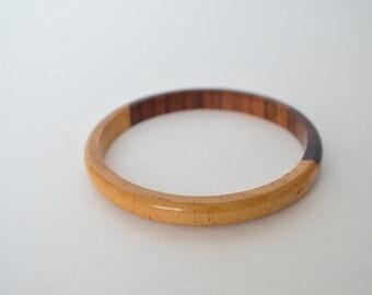 Handcrafted Light Dark brown Natural Hard Wood Bangle Bracelets Beautiful 1 piece Wood