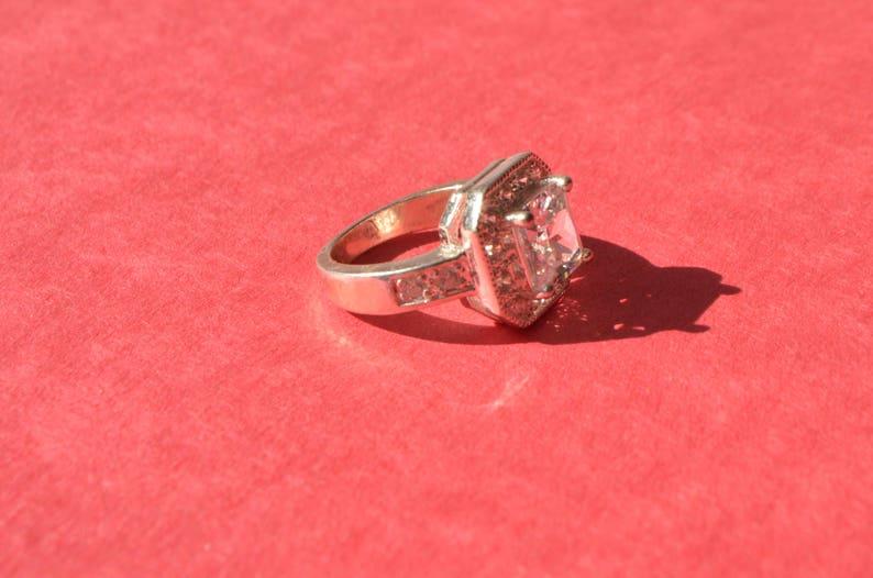 Vintage Sterling Silver Princess Cut Topaz 3.67 CT Wedding Engagement Ring Size 6