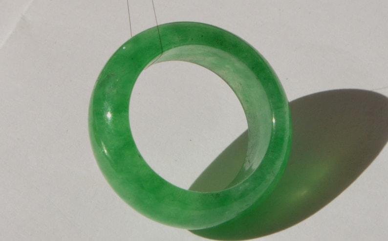 Vintage Natural Genuine Apple Green Translucent Jadeite Jade Unisex Band Ring Size 10.5