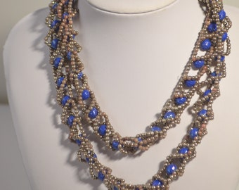 """Vintage blue silver tone Lucite Beaded Necklace 36"""""""