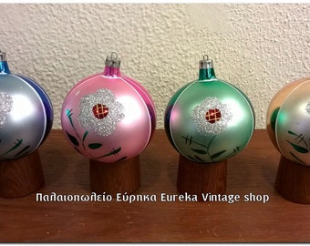 Vintage Glass Christmas Ornaments Nos With Box German Poland Etsy