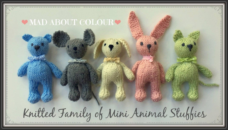 Mini Animal Stuffies KNiTTING PaTTERN Small Teddy Bear, Bunny Rabbit ...