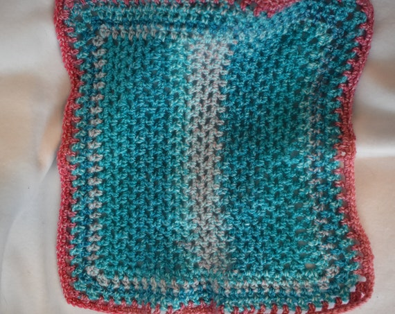 Cotton Candy Blue & Pink Crochet Cat Mat