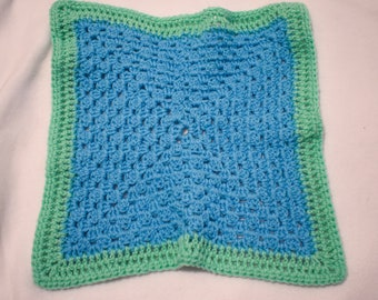 Periwinkle Blue and Bright Green Cat Mat -- Granny Square Style Pet Blanket in a Fresh Bright Green and Periwinkle Blue
