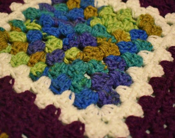 Purple & Blue-Green Gradient Cat Mat -- Granny Square Crochet Pet Blanket in Plum, Blues, Greens, and White