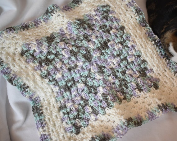 Soft Pastel Crochet Cat Mat -- Granny Square Pet Blanket in a Pastel Gradient of Teal, Purple, & Gray with Soft White Accents