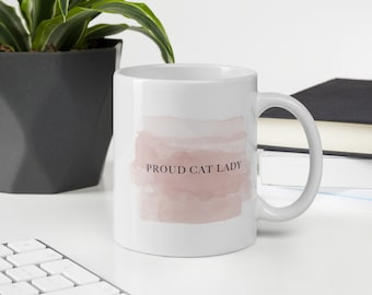 Proud Cat Lady Mug in Petal Pink with Charcoal Blue Print