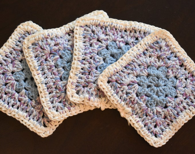 Soft Blue & Purple Four Piece Granny Square Crochet Coaster Set -- Made With Cotton Yarn