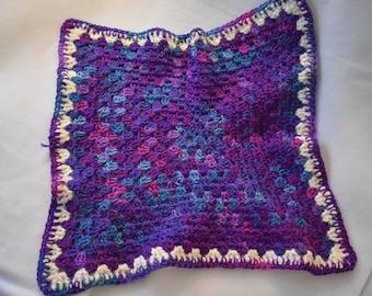 Purple Fizz Cat Mat -- Granny Square Style Pet Blanket in a Purple & Blue Gradient with Cream Detailing