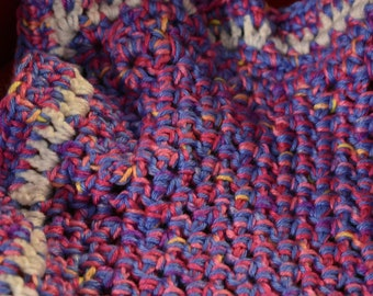 Blue & Pink Crochet Cat Mat -- Cuddly Pet Blanket with Blue, Pinks, Purples, Yellow, and White