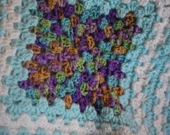 Teal & Garden Gradient Granny Square Cat Mat -- Crochet Pet Blanket with Teal, Soft White, Purples, Greens, and Golden Bronze