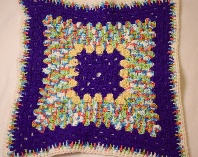 Purple Rainbow Cat Mat -- Granny Square Style Pet Blanket in a Rich Purple w Cream and Multicolor (blue, pink, green, and white)  Detailing