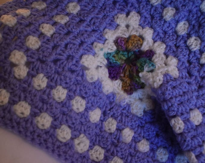 Lavender Crochet Cat Mat -- Granny Square Pet Blanket and Bed with Pastel Purple, Soft White, & a Center of Greens and Blues