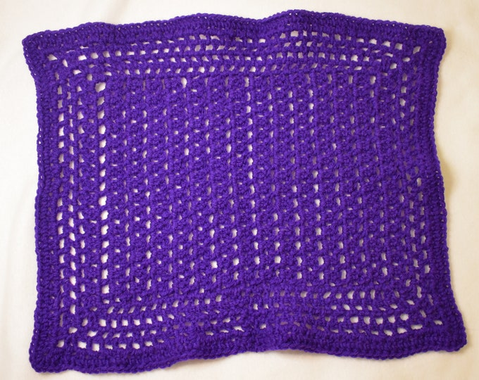 Solid Purple Cat Mat -- Granny Square Style Pet Blanket in a Rich Purple -- Handmade Purple Pet Blanket and Pet Bed