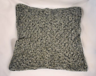 Heather Gray Crochet Cat Mat-- Granny Square Pet Blanket in a Deep & Sky Blue Gradient