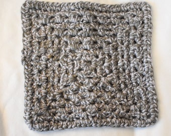 Charcoal Sky Crochet Cat Mat -- Small Granny Square Style Pet Blanket in Grays with Blue Undertones
