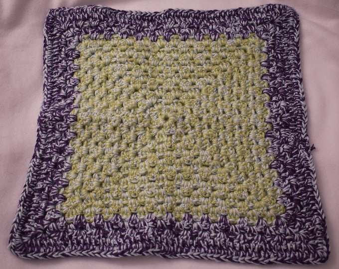 Garden Party Double Strand Cat Mat -- Crochet Pet Blanket in Plum, Lemongrass, and Soft Blue