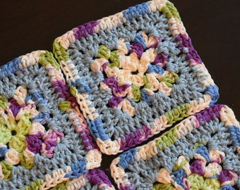 Periwinkle & Purple Four Piece Granny Square Crochet Coaster Set -- Made With Cotton Yarn
