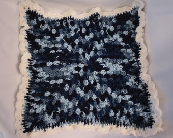 Shelled Navy Blues Cat Mat -- Granny Square Pet Blanket in a Deep & Sky Blue Gradient with White Shell Edging