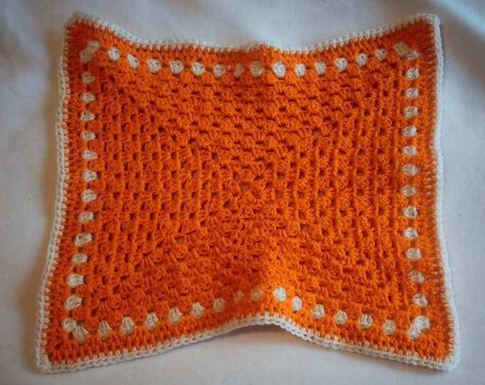 Pumpkin Orange and White Cat Mat -- Granny Square Style Rectangular Pet Blanket with Bright Orange and Soft White