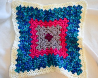 Neon Pink & Bright Blue Crochet Cat Mat -- Granny Square Style Pet Blanket in Bright Pink and Blue Gradient with Purples and Soft White