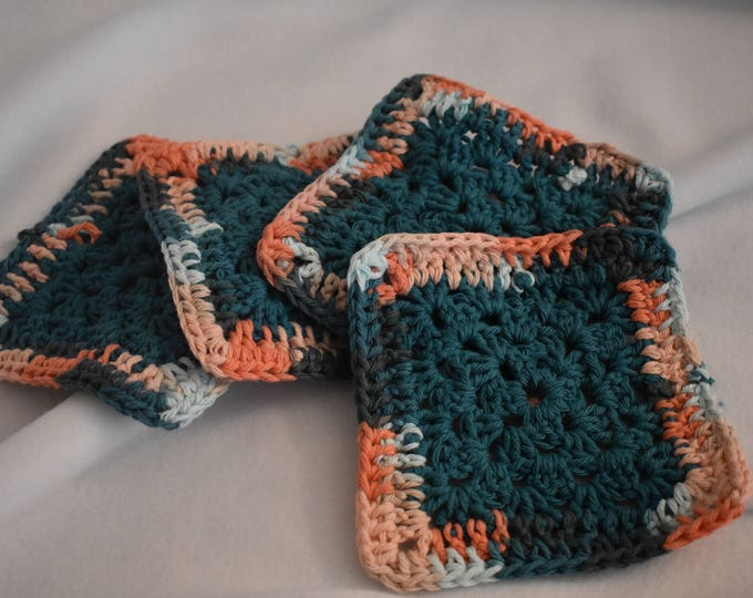 Teal & Coral Four Piece Granny Square Crochet Coaster Set -- Made With Colorful Cotton Yarn