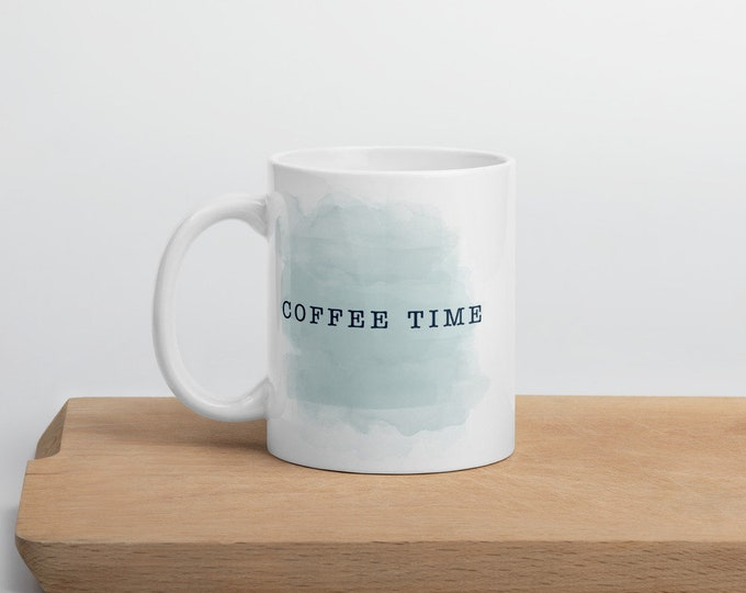 Coffee Time Mug -- Light Blue and Teal Watercolor Inspired Cup