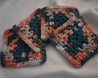 Coral & Teal Four Piece Granny Square Crochet Coaster Set