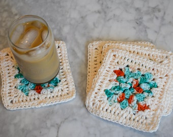 Teal, Coral, and Cream Four Piece Granny Square Crochet Coaster Set -- Made With Colorful Cotton Yarn