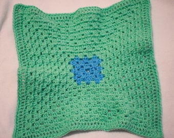 Bright Green and Periwinkle Blue Cat Mat -- Granny Square Style Pet Blanket in a Fresh Bright Green and Periwinkle Blue Center