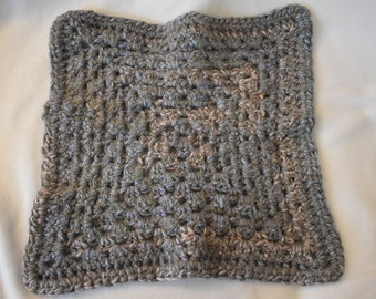Blue, Pink & Gray Crochet Cat Mat -- Small Granny Square Style Pet Blanket in Grays with Blues and Pinks