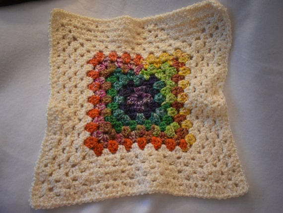 Rainbow & Cream Granny Square Cat Mat -- Cozy Crochet Pet Blanket with Gradient Multicolor and Off White
