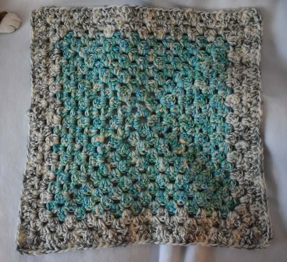Heather Blue & Green Crochet Cat Mat with Gray and White Accents