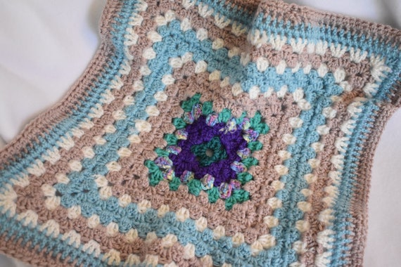 Soft Blue & Tan Cat Mat -- Multicolor Granny Square Pet Blanket