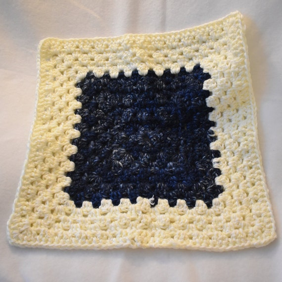 Navy & Cream Granny Square Cat Mat -- Cozy Crochet Pet Blanket in Blue and Off White