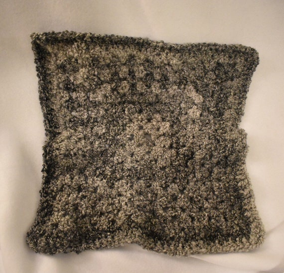 Meteorite Crochet Cat Mat -- Granny Square Style Pet Blanket in Shimmery Gray Gradient