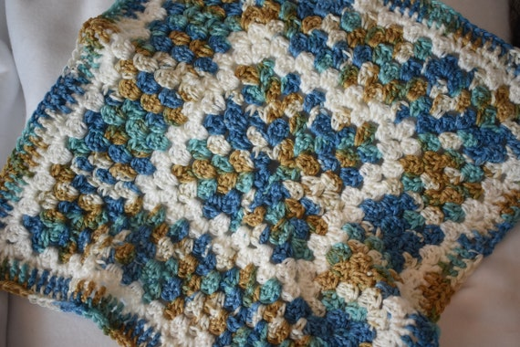 Ocean & Sand Crochet Cat Mat -- Granny Square Pet Blanket in a Vibrant Blue and Brown Gradient