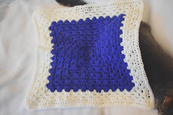 Vibrant Sapphire Cat Mat -- Granny Square Pet Blanket in a Bright Blue/Purple Hue