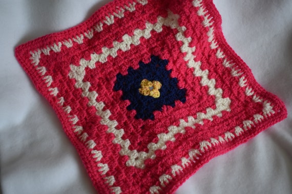 Hot Pink Crochet Cat Mat -- Granny Square Pet Blanket in Bright Pink, White, Navy, & Goldenrod Yellow