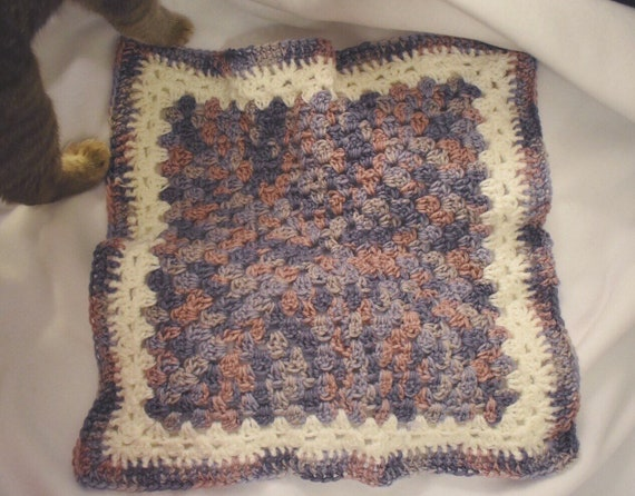 Lavender Crochet Cat Mat -- Granny Square Style Pet Blanket
