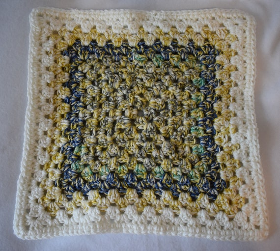Heather Blue & Gold Crochet Cat Mat with Gray, Green, and White Accents