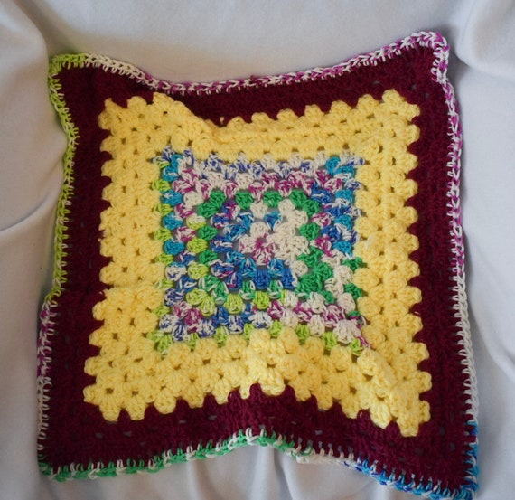 Sunflower & Fair Isle Crochet Cat Mat -- Granny Square Pet Blanket in Bright Yellow, Cranberry, and Fair Isle Inspired Gradient